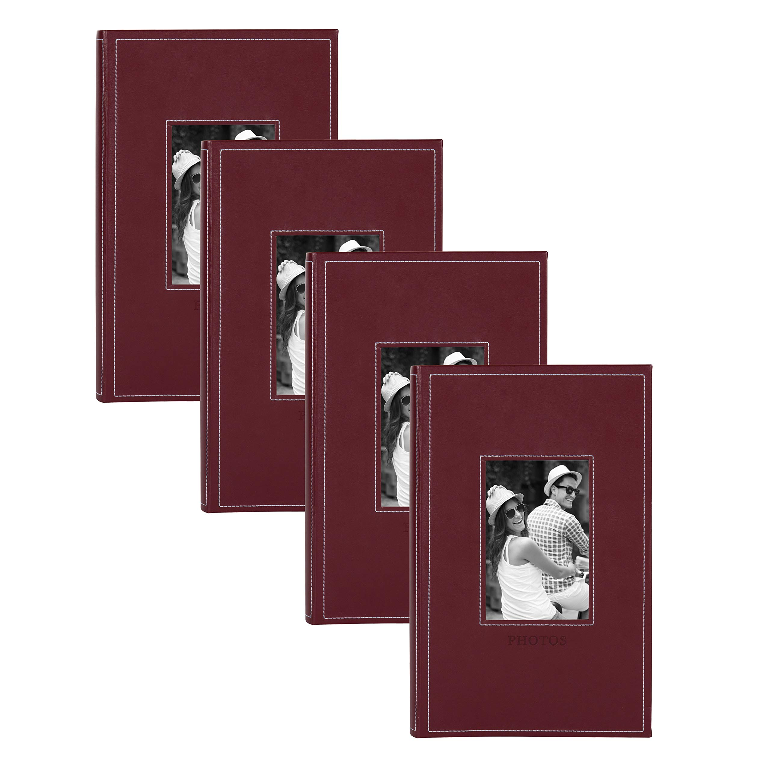DesignOvation Debossed Faux Leather Photo Albums, Holds 300 4x6 Photos, Set of 4, Burgundy Red by DesignOvation