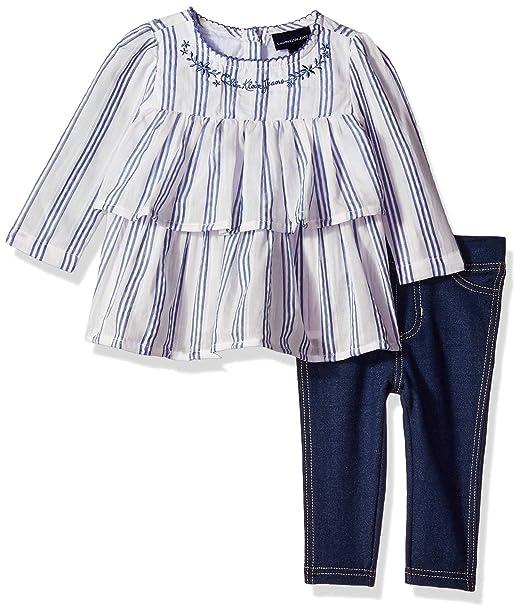 Calvin Klein Baby Girls 2 Pieces Legging Set Pants, Navy/Blue, 24M