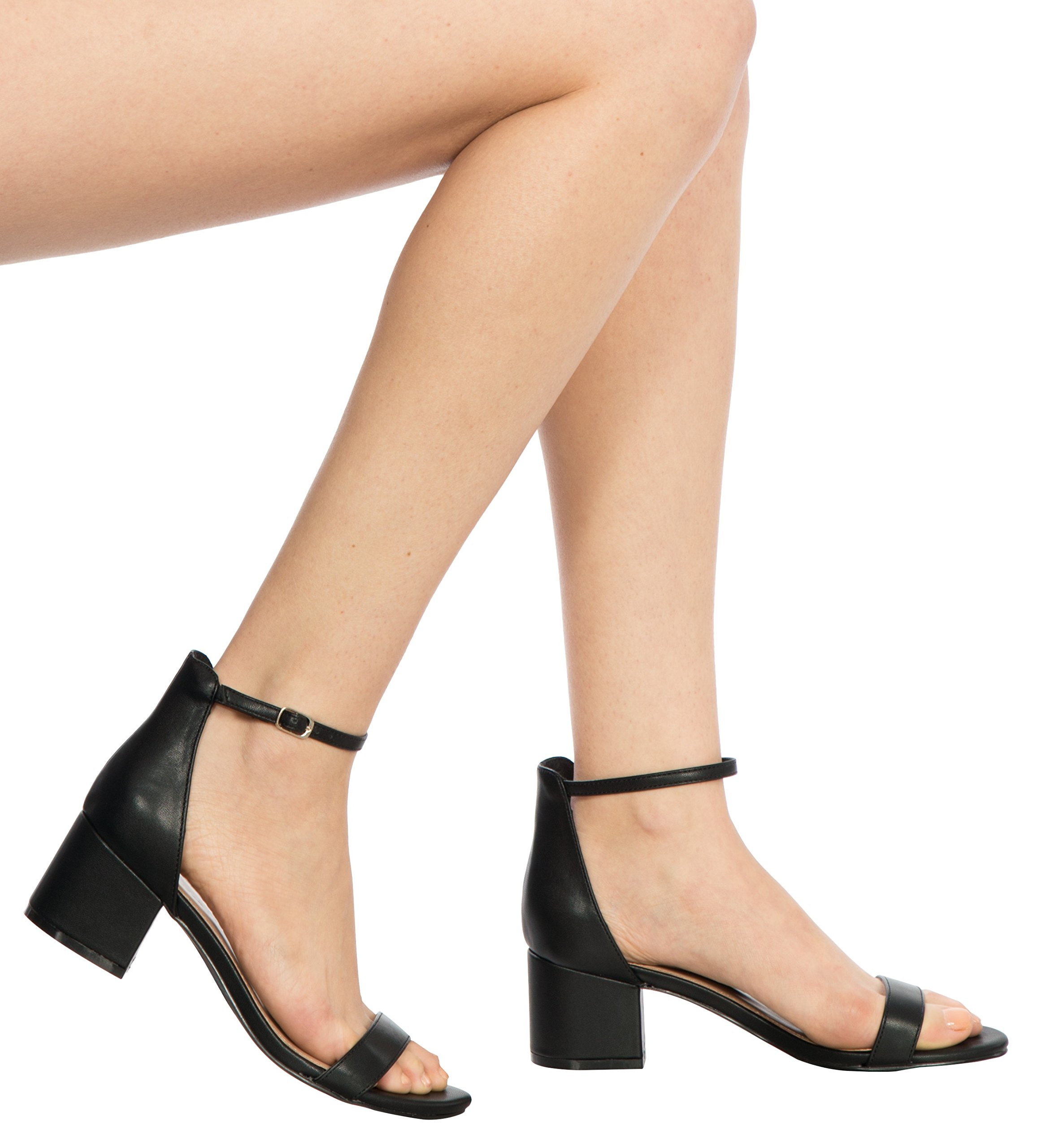 OLIVIA K Women's Ankle Strap Kitten Heel – Adorable Low Block Heel,Black Pu,8.5 B(M) US by OLIVIA K (Image #4)