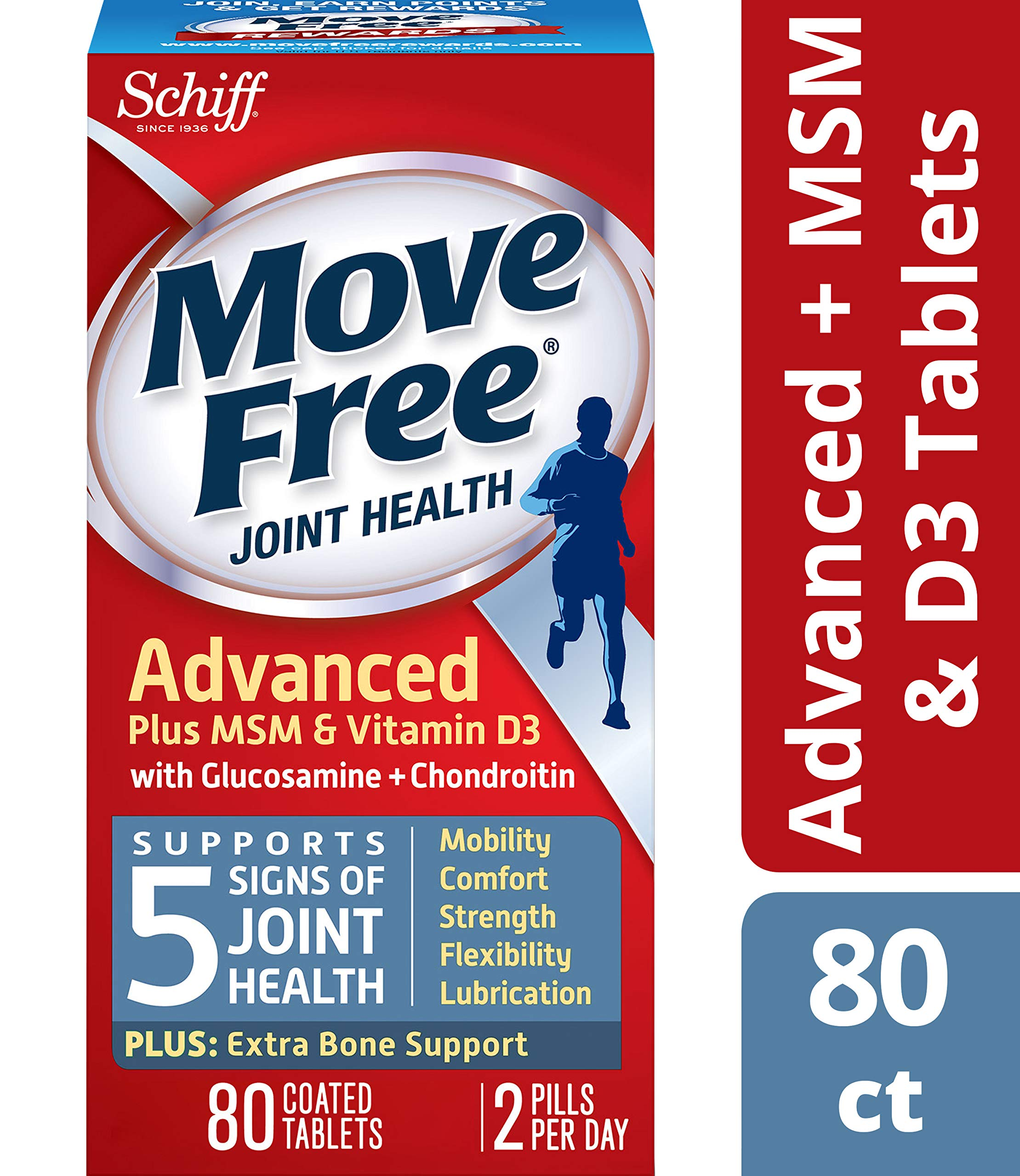Move Free Advanced Plus MSM & D3 Joint Health Supplement with Glucosamine & Chondroitin, Supports Mobility, Comfort, Strength, Flexibility & Joint Lubrication, 80 Count (Pack of 4)
