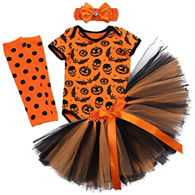 754851f938cf Halloween 4PCS Newborn Infant Baby Toddlers Girls My 1st Halloween Pumpkin  Skull Rompers Tutu Blowknot Party Skirt with Headband Leg Warmer Children  Tulle ...