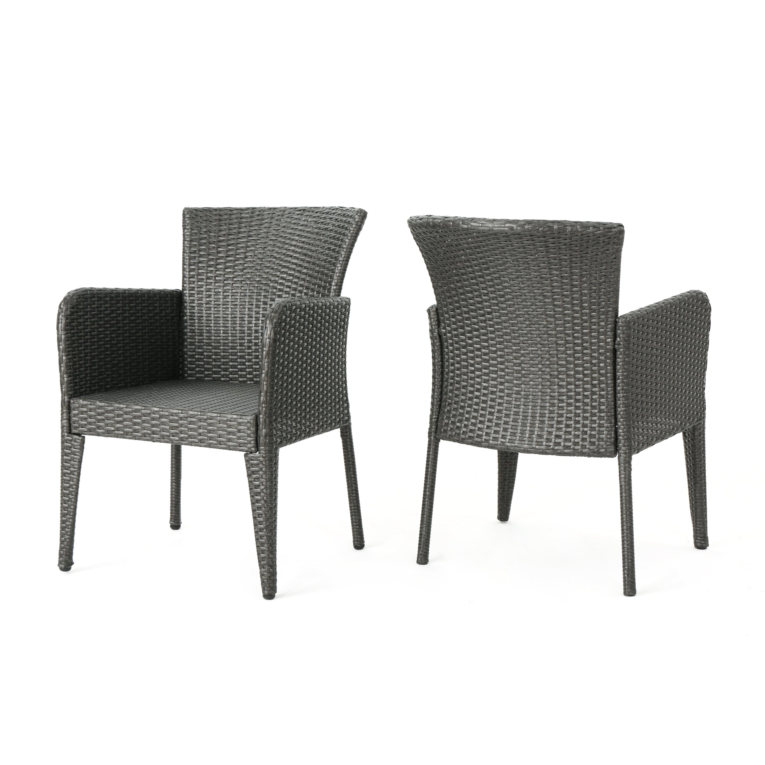 Christopher Knight Home Daisy Outdoor Wicker Dining Chair (Set of 2), Grey