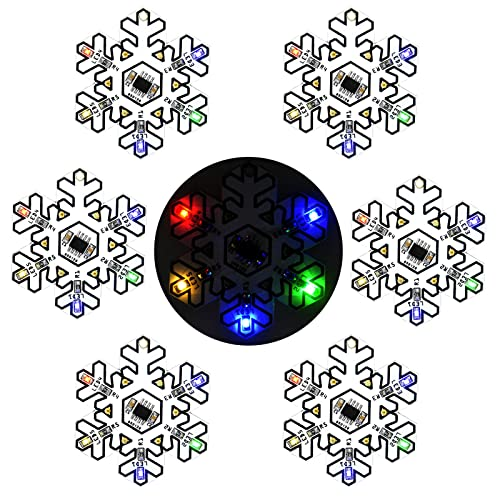 Gikfun Snowflake Shape SMD SMT Welding Practice Soldering Skill Training Board DIY Kit for Arduino Christmas Tree Decoration Gift Pack of 6pcs GK1018