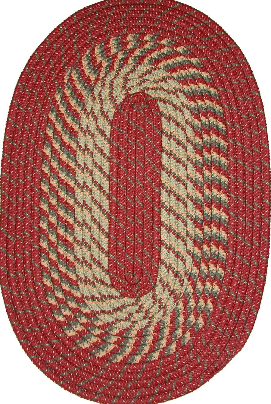 Plymouth 6 ROUND Braided Rug in Barn Red