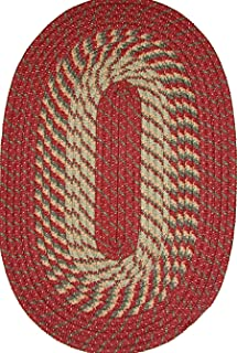 "product image for Plymouth 20"" x 30"" Braided Rug in Red/Olive"