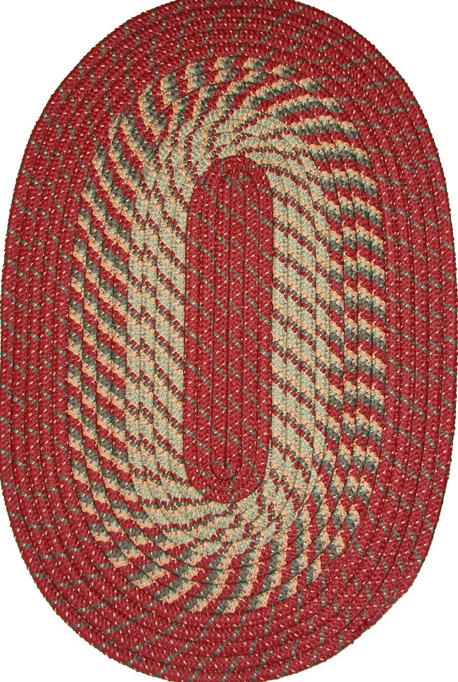 Constitution Rugs Plymouth 5 x 8 Braided Rug in Barn Red