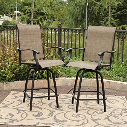 9e9a205b63e Image Unavailable. Image not available for. Color  PHI VILLA 2 Piece Outdoor  Swivel Bar Stools Height Bar Bistro Chair ...