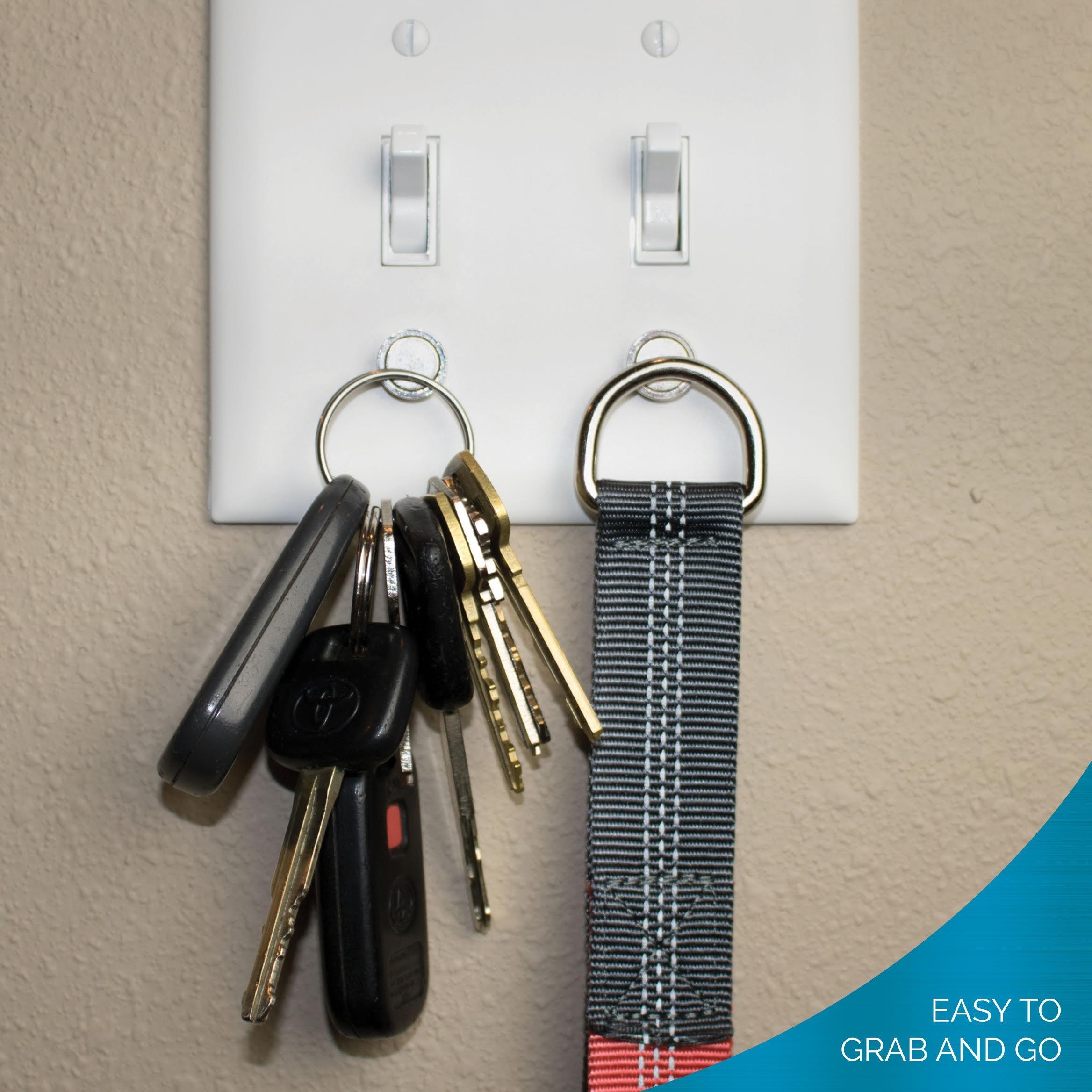 Magnetic Key Rack by Savvy Home | Key Holder for Light Switch | Smart Modern Design for Keychain Rings, Car Keys, Key FOBs | Easy Installation (4 Pack)