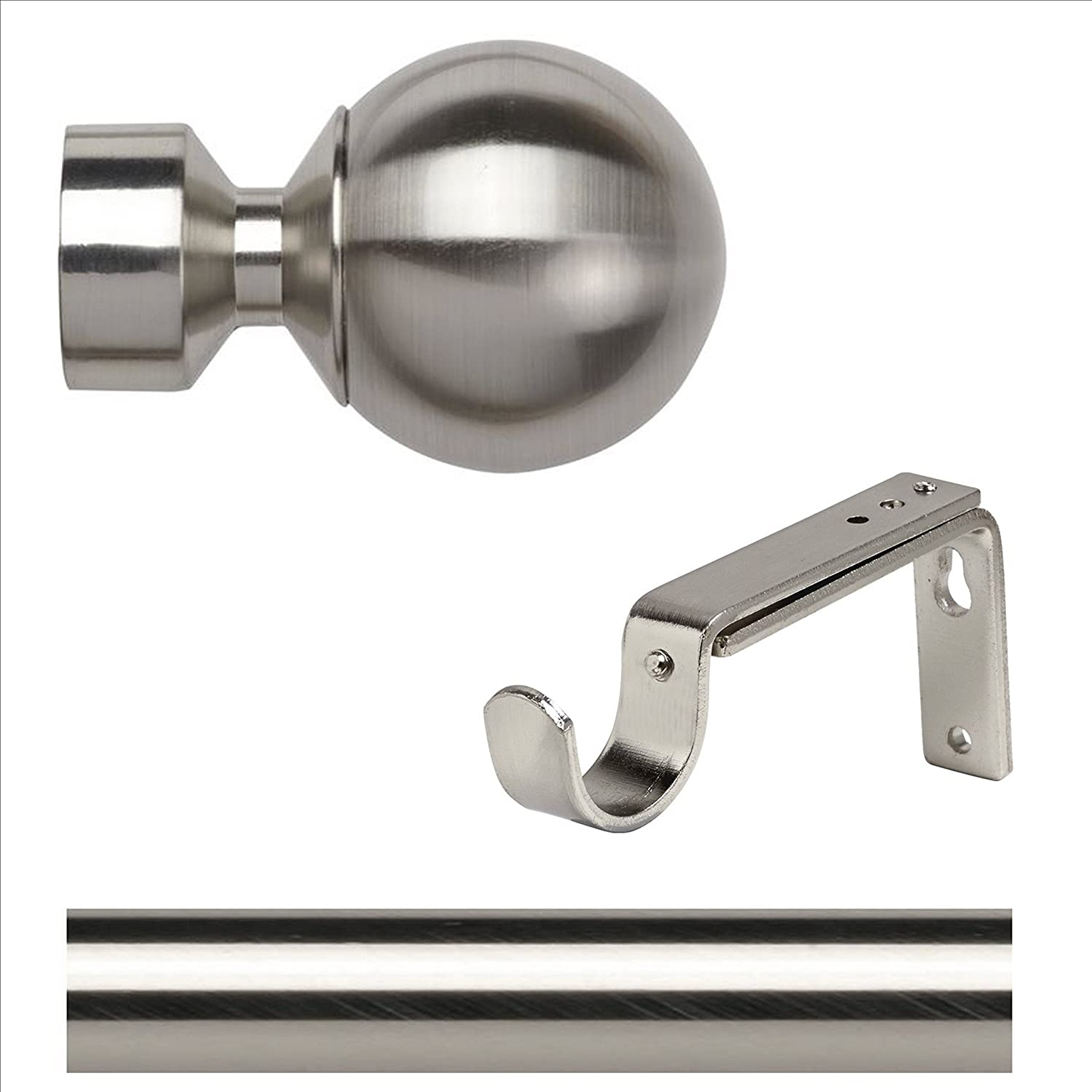 28mm Trade Packed 200cm EYELET Curtain pole Satin Steel (no rings ...