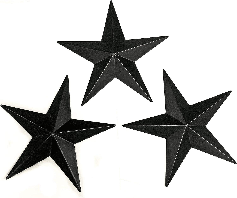 Bellaa 23547 Metal Stars Wall Decoration Black Western Texas Barn Decor 12 Inch Each Set of 3