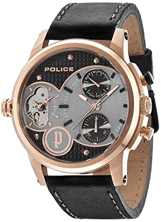b291c7ee9 Police Watch for Men, leather Band, Quartz, PL.14376JSR/02: Amazon.ae