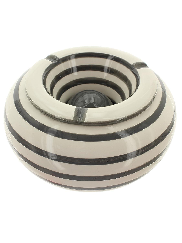 Mikata Fun Shopping Cenicero XXL Rayas weissgrau Ø22Cm de cerámica MIK funshopping