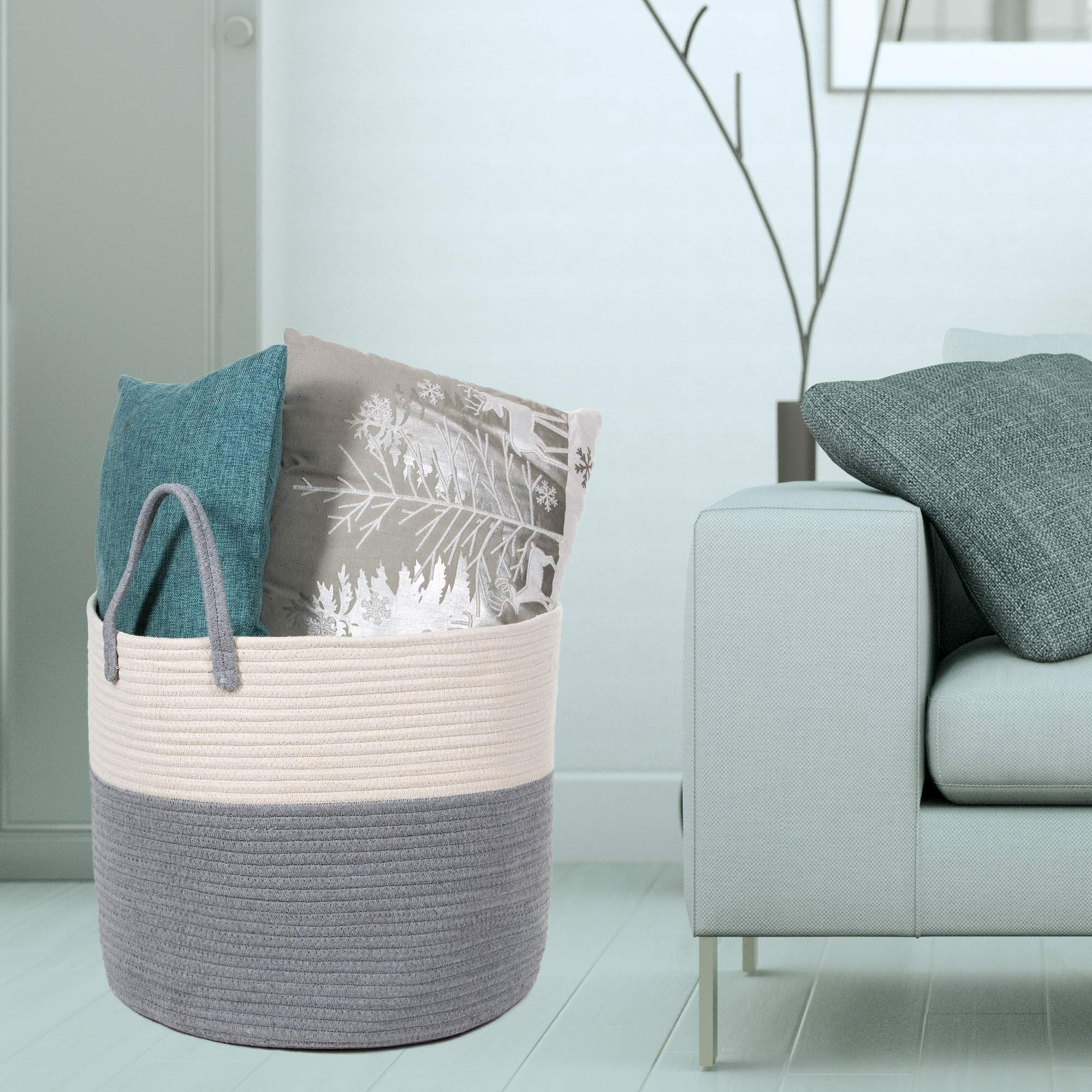 Extra Large Cotton Rope Basket 17 x 14.7 with Handles, for Baby Laundry Basket Woven Blanket Basket Nursery Bin by YOONLIVING (Image #6)