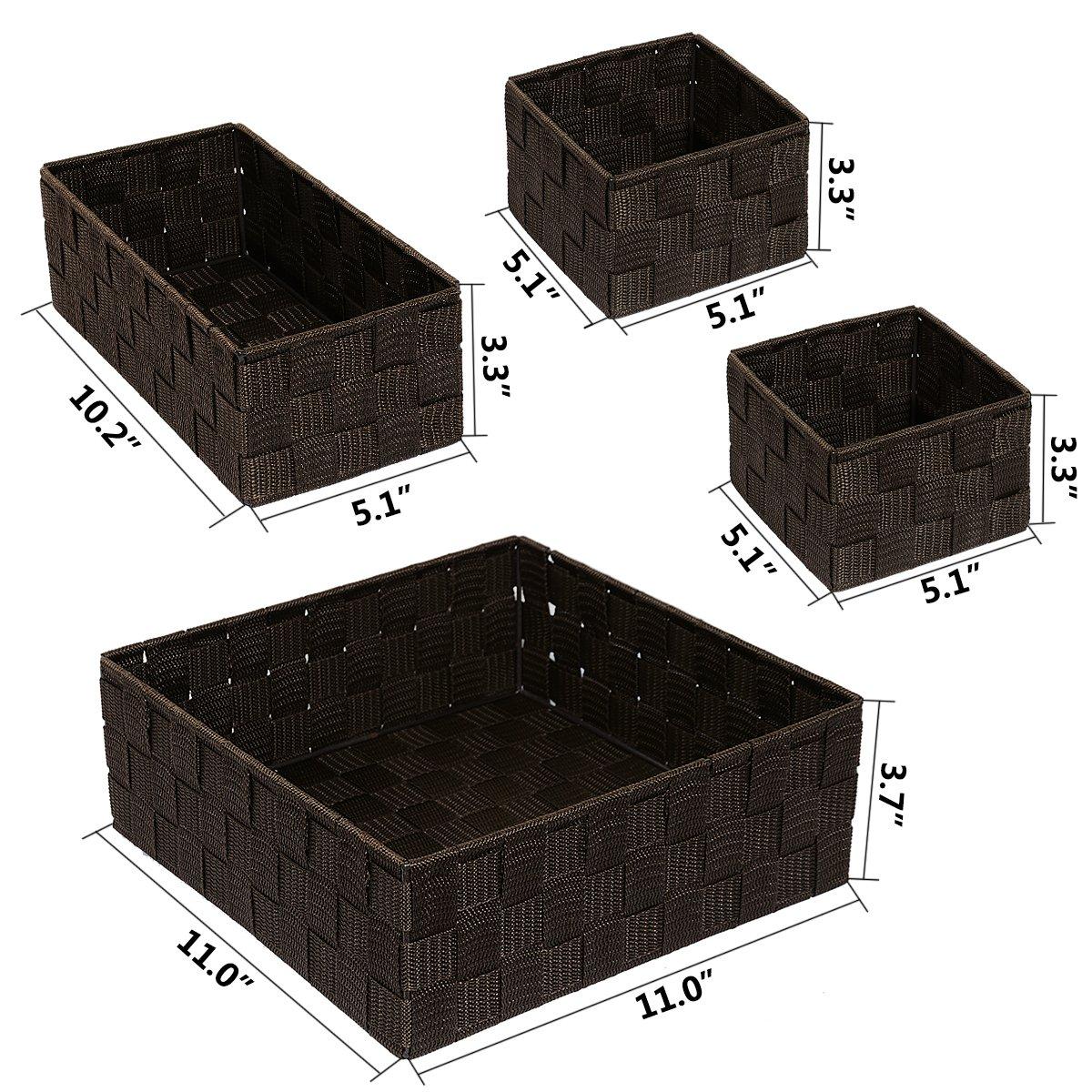 Kommode Handgewebt Aufbewahrungsboxen Closet Trennwand f/ür Schreibtisch Schr/änke,Cosmatic Organisation 4er-Set Schubladen Posprica Schublade Organizer