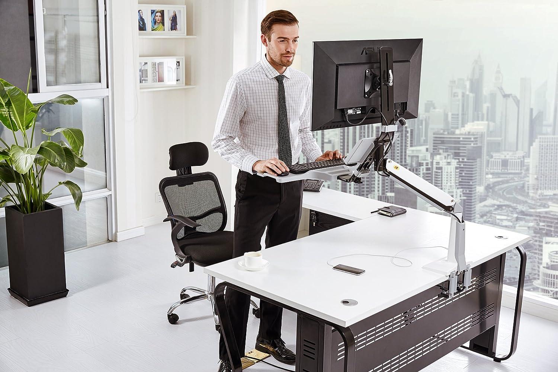 CF35 Sitz-Stand Arbeitsplatz mit Klemmbefestigung Sitz-Steh Schreibtisch Steharbeitsplatz Computertisch für 22''-35'' Monitore Weiss