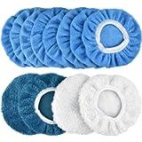 POLIWELL 12Pack Polishing Bonnet Pads 5-6 Inch Buffer Pad Cover- 8pcs Microfiber Buffing Bonnets, 2pcs Woollen Waxing…