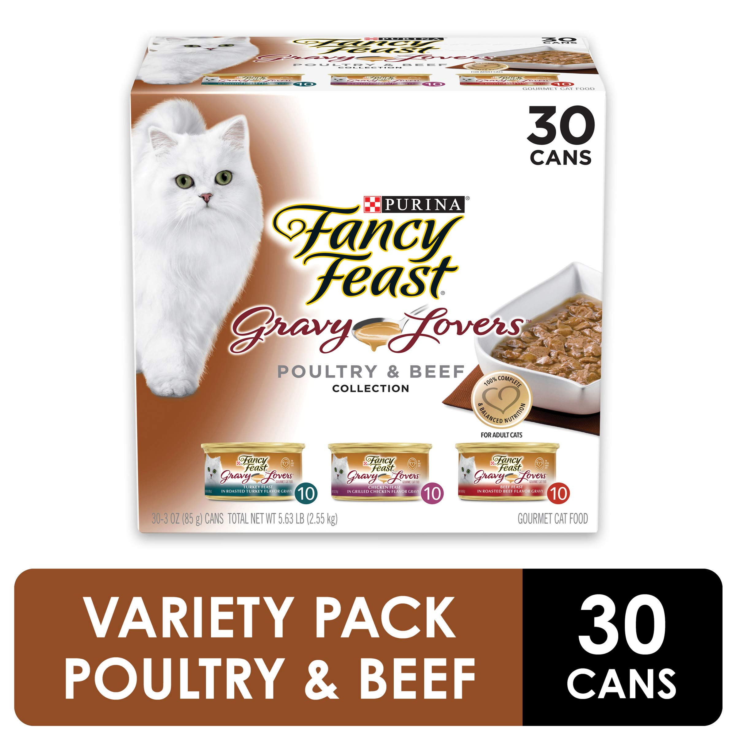 Purina Fancy Feast Gravy Wet Cat Food  Variety Pack, Gravy Lovers Poultry & Beef Feast Collection - (30) 3 oz. Cans by Purina Fancy Feast