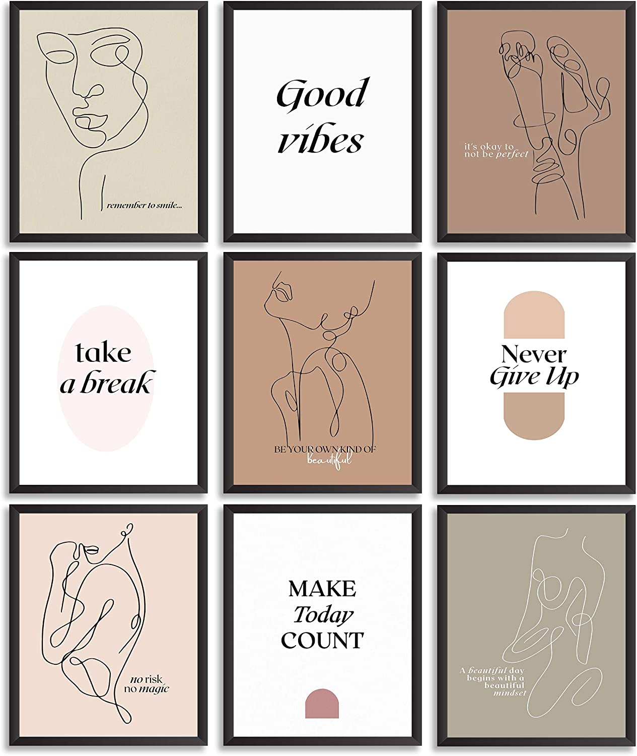 Inspirational quotes Wall Art - Motivational Wall Art posters set for Home or Office Wall Decor - Unique, Minimalist women Line Art Prints - Positive Affirmations modern room decor- (9Pcs UNFRAMED)