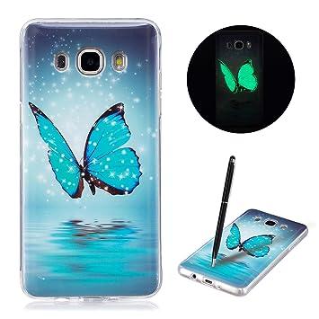 Caselover Funda Samsung J5 2016, Luminosa Silicona Carcasa para Samsung Galaxy J5 2016 J510 5.2 Fluorescente Suave TPU Flexible Case Efecto Verde ...