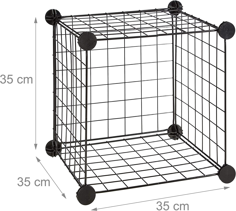 Relaxdays Estanter/ía Modular con 9 Compartimentos Metal Negro 96 x 96 x 32 cm