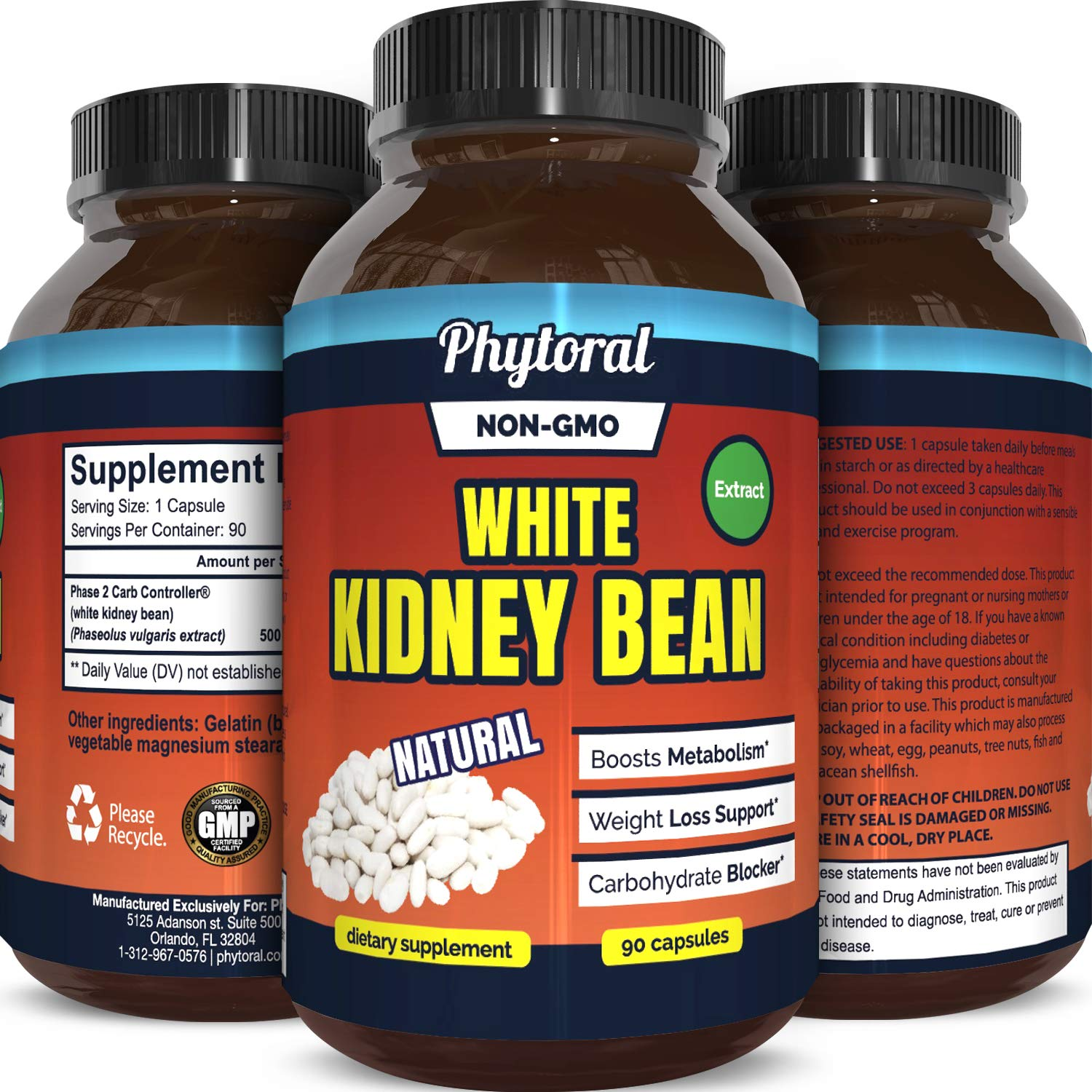 White Kidney Bean Supplement Pills Pure Extract Starch Carb Blocker Weight Loss Formula - Lose Belly Fat Suppress Appetite Boost Metabolism Natural Weight Loss for Men and Women