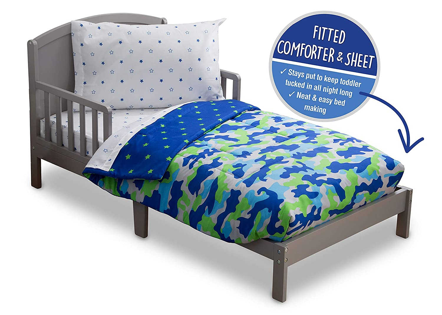 Toddler Bedding Set | Boys 4 Piece Collection | Fitted Sheet, Flat Top Sheet w/ Elastic bottom, Fitted Comforter w/ Elastic bottom, Pillowcase | Delta Children | Boys Camo Stars | Blue Green