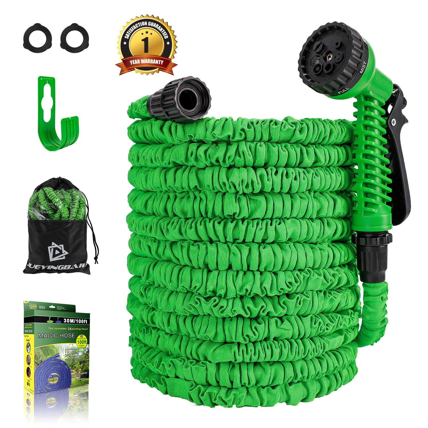 Expandable Water Hose 75FT Lightweight Triple Latex Core /& Extra Strength Fabric Water Pipe with 3//4 Solid Fittings Hose Extension Joint for Outdoor Gardening Lawn Car Watering Garden Hose