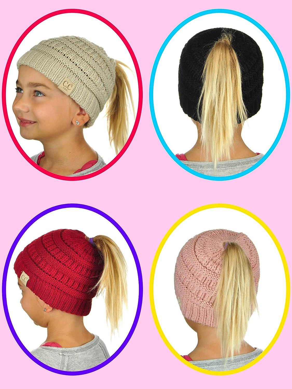 C.C BeanieTail Kids Childrens Soft Cable Knit Messy High Bun Ponytail Beanie Hat Blue//Purple//Gray
