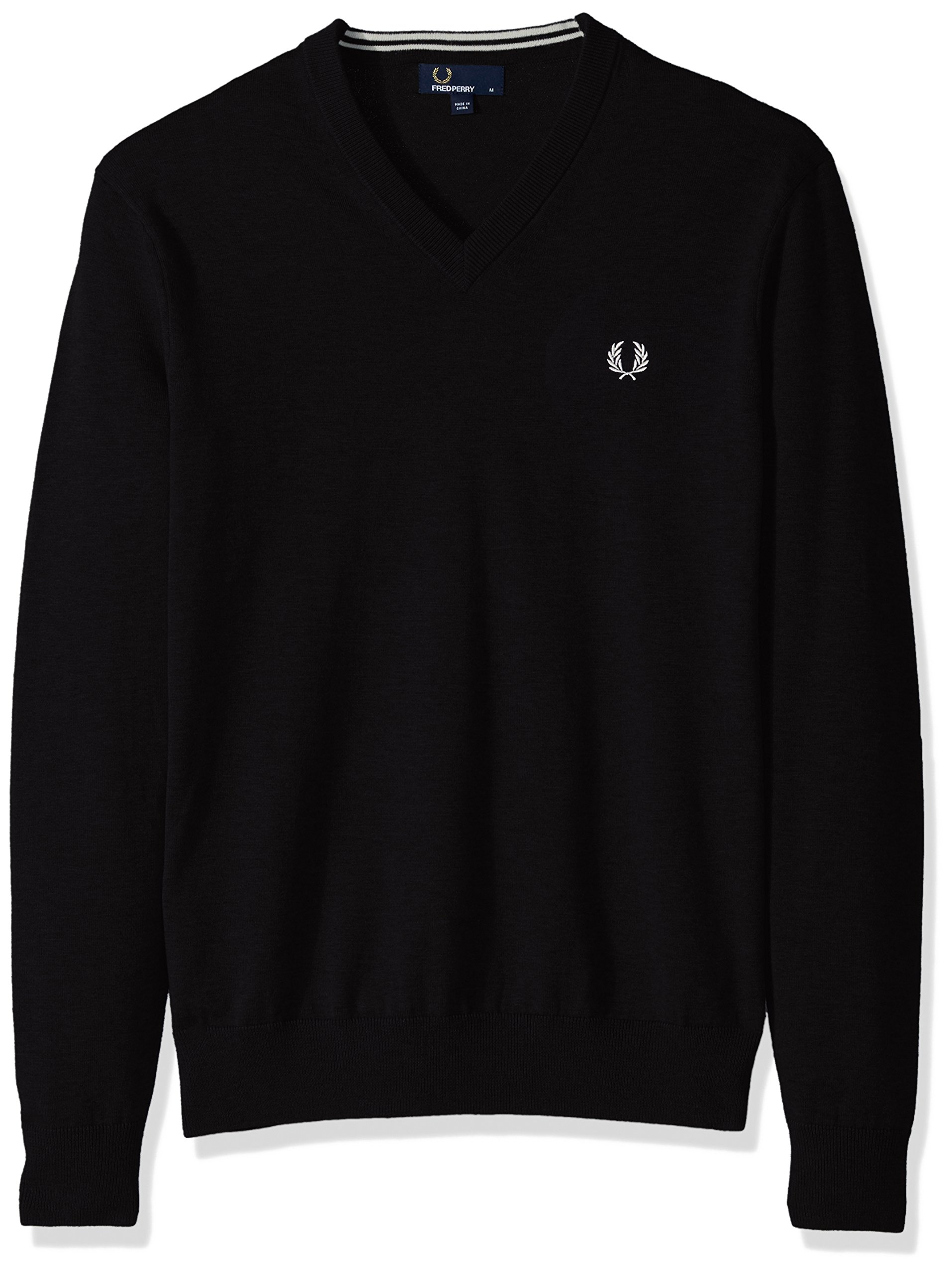 Fred Perry Men's Classic Cotton V-Neck, Black, Small