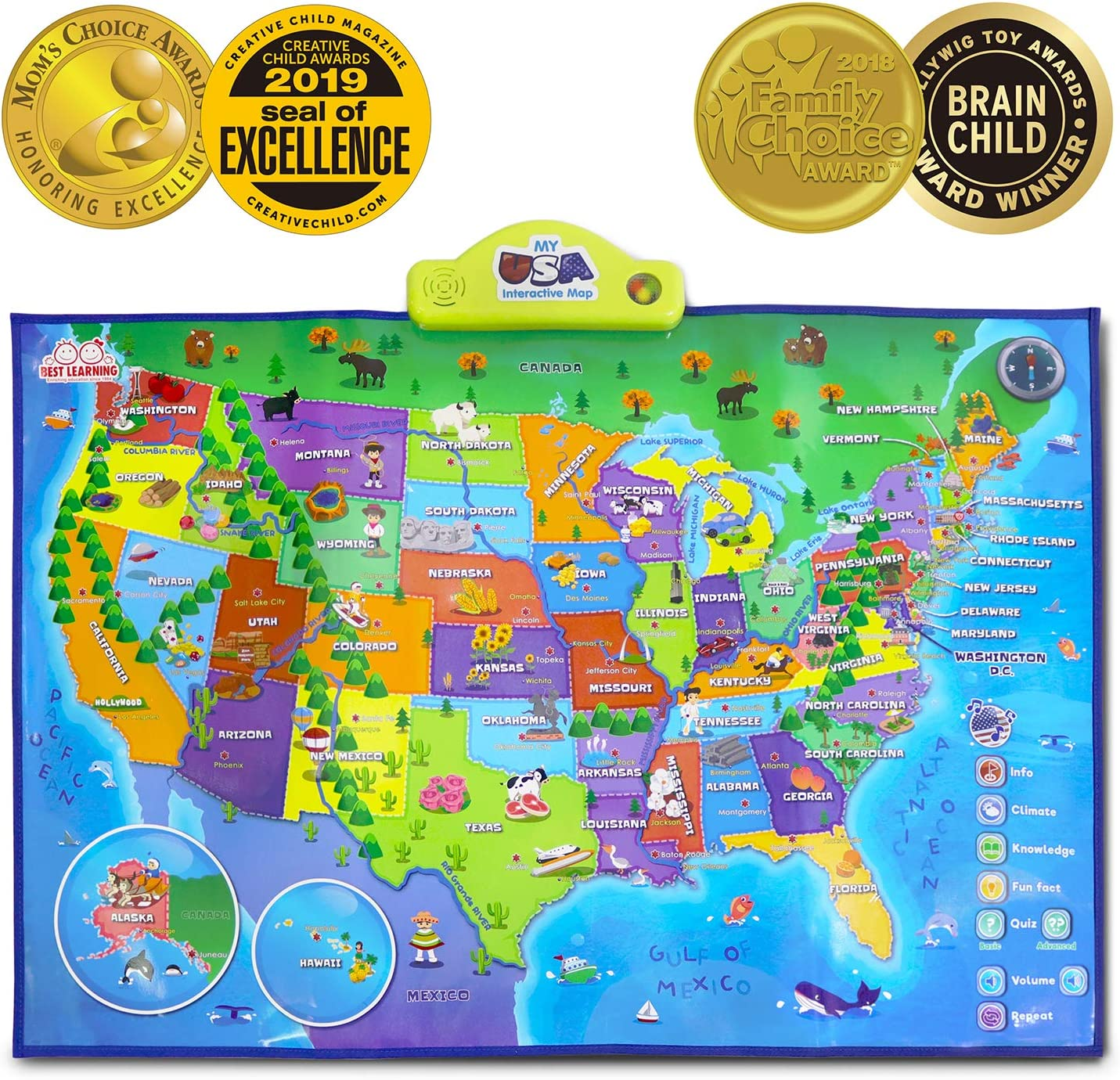 Full Interactive Map Of Usa.Amazon Com Best Learning I Poster My Usa Interactive Map