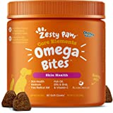 Zesty Paws Omega Bites Soft Chews - with AlaskOmega for EPA & DHA Omega-3 Fatty Acids to Support Normal Skin Moisture - Antio