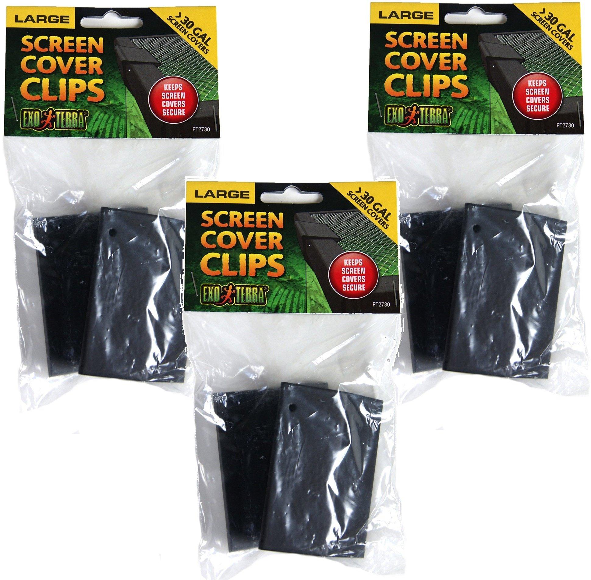 (3 Pack) Exo Terra Terrarium Cover Clip Set, Large, 2 Clips each