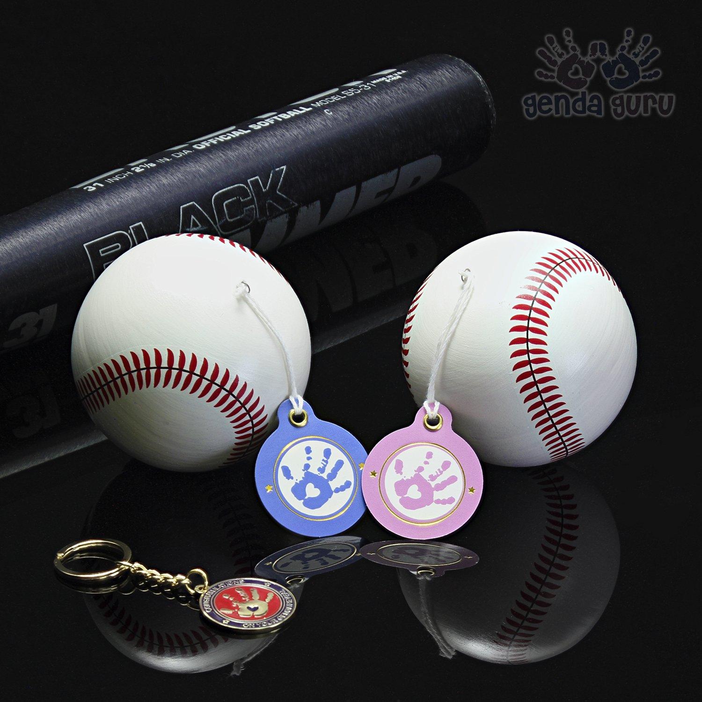 GendaGuru Premium Gender Reveal Baseball Set BONUS KEEPSAKE | 2 x Exploding Baseballs with EXTRA Pink and Blue Powder | Baby Shower Gender Reveal Party Supplies | Team Boy Or Girl
