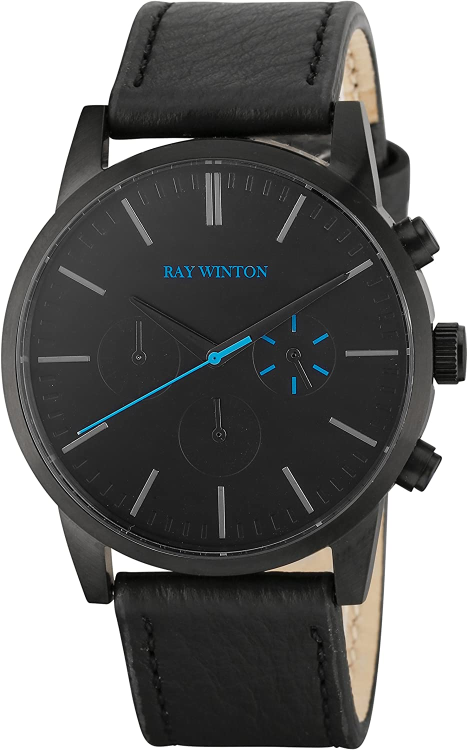 Ray Winton Men s Chronograph Black Polished Stainless Steel Black Dial Black Genuine Leather Strap Watch