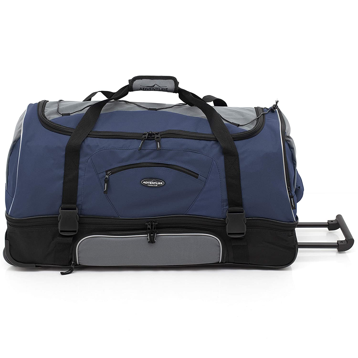 Travelers Club 30 ADVENTURE Travel Rolling Duffle Bag Blue
