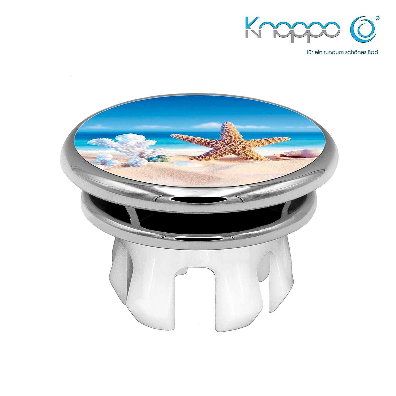 KNOPPO® Waschbecken Überlauf Abdeckung, Überlaufblende, Überlaufrosette - Mirror Seestern Motiv (chrom)
