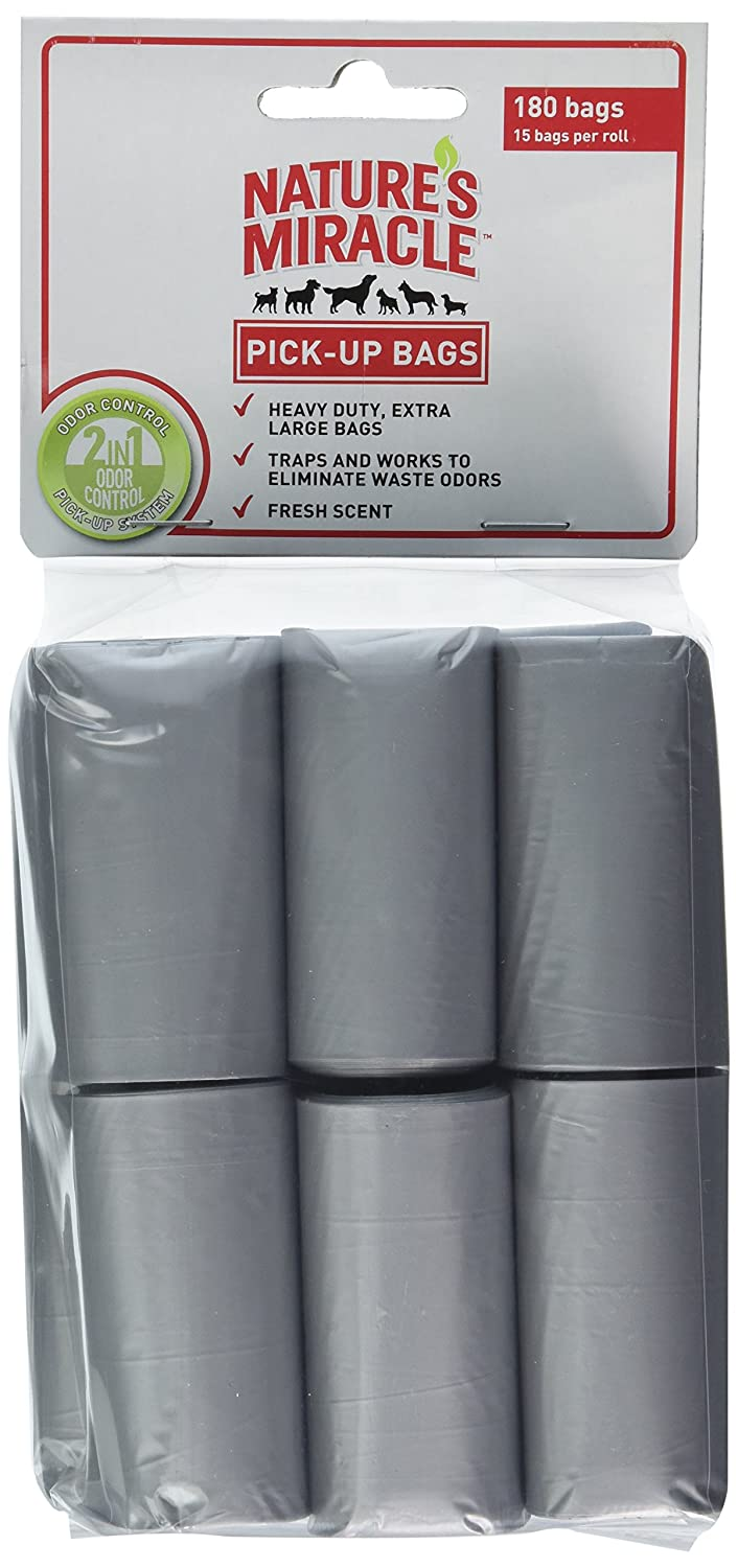 Nature's Miracle Advanced Pick -up Bags Antimicrobial Fresh Scent 180 -Bags, 24 Rolls