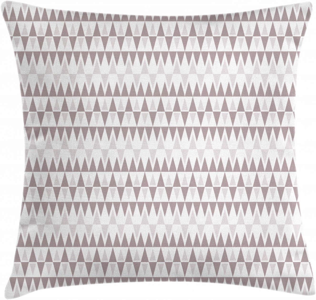 Houlipeng Geometric Throw Pillow Cushion Cover, Aztec Style Repetitive Triangles in Gentle Pastel Tones, Decorative Square Accent Pillow Case, 18 X 18 Inches, Pale Mauve White and Mauve Taupe