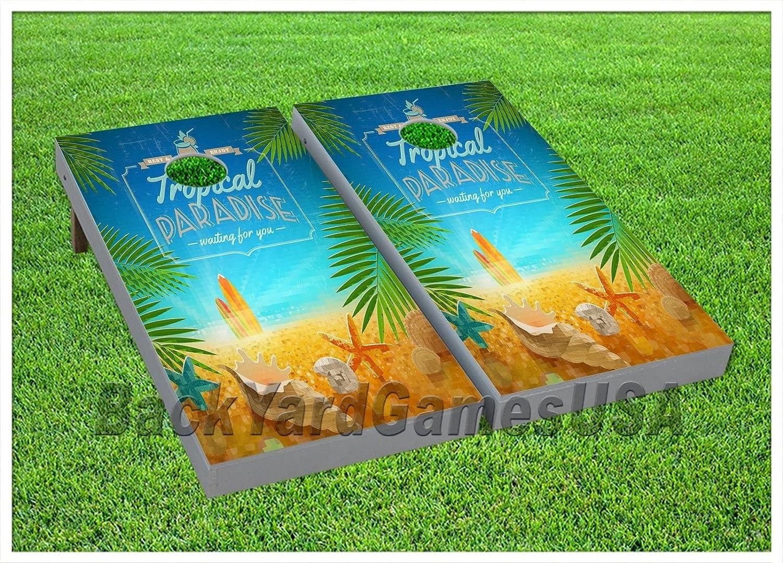 Cornhole Beanbag Toss Game Tropical Paradise Beach Wバッグゲームボードセット489   B07237TR89