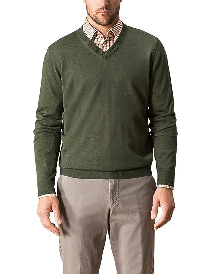 Walbusch Herren Merino- Mix V- Pullover einfarbig Farn 48  Walbusch ... d064bae520