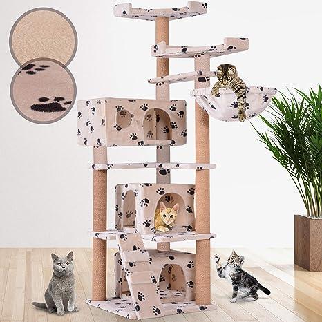 Leopet Árbol Rascador para Gatos | Altura 162cm, elección de Color, Estable con3 Cuevas