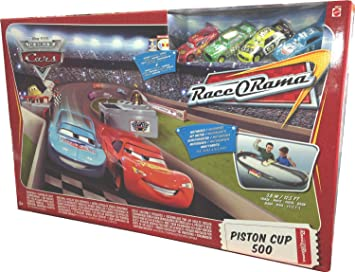 Damaged Radiator Springs Classic Piston Cup 500 Diecast Car Track Set