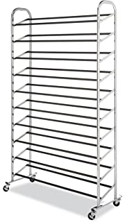 Whitmor 10 Tier Shoe Tower   50 Pair   Rolling Shoe Rack With Locking  Wheels