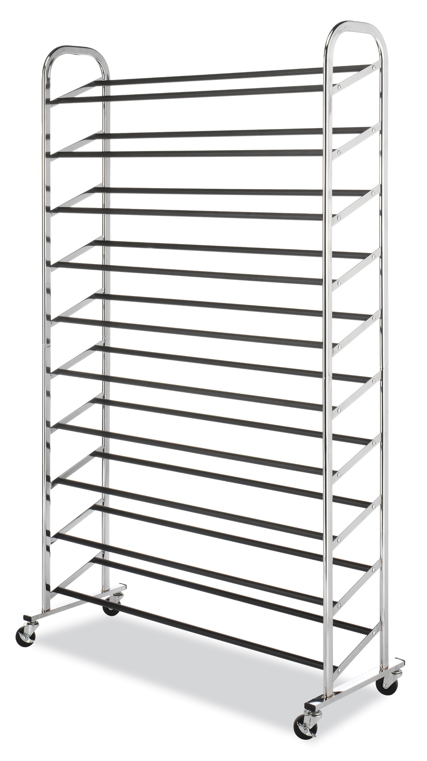 Whitmor 10 Tier Shoe Tower - 50 Pair - Rolling Shoe Rack with Locking Wheels - Chrome