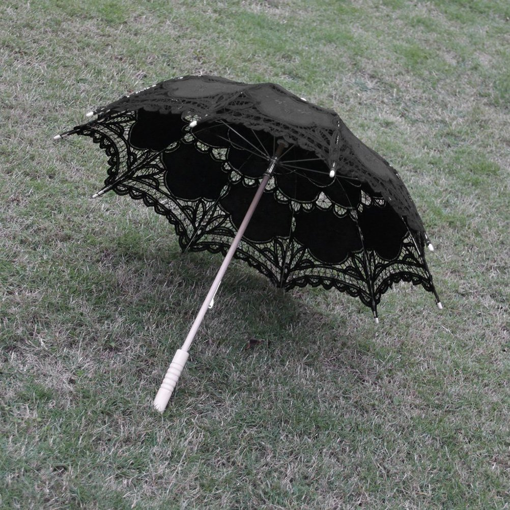 PIXNOR Bridal Wedding Umbrella Lace Cotton Embroidery Handmade Parasol Umbrella for Wedding Party Photo Props (Black)