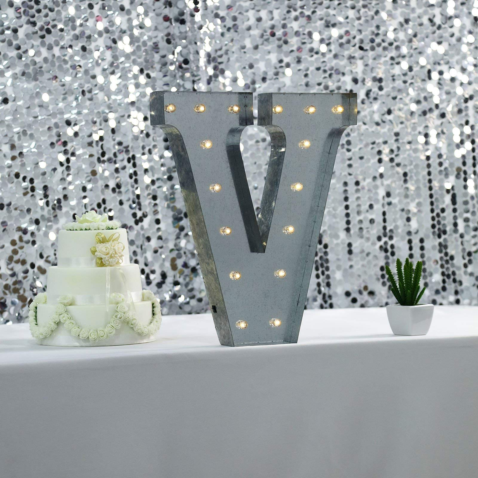 Tableclothsfactory 2 FT   Vintage Metal Marquee Letter Lights Cordless with 16 Warm White LED - V by Tableclothsfactory