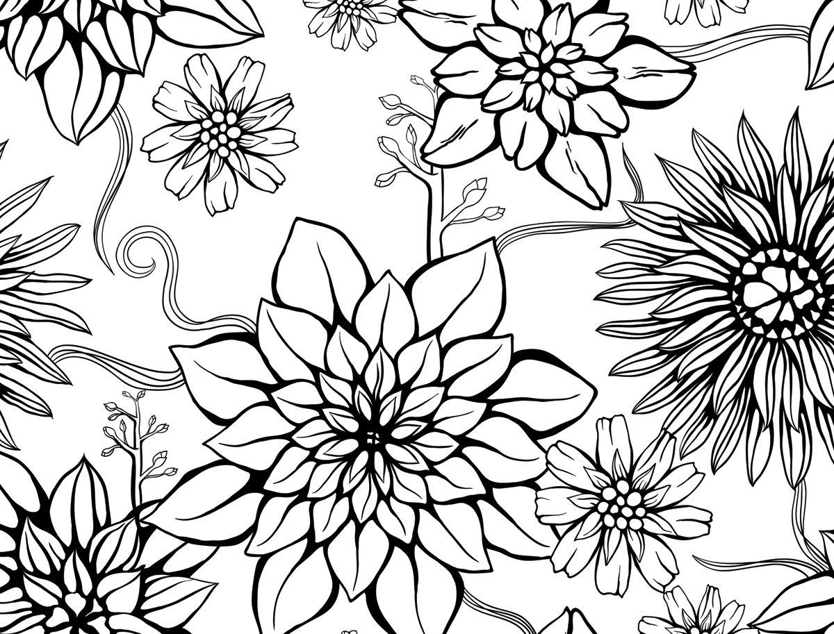 JP London PMUR2462 uStrip Peel and Stick Removable Wall Decal Sticker Mural Floral Outline Black Daisy 4 x 3-Feet