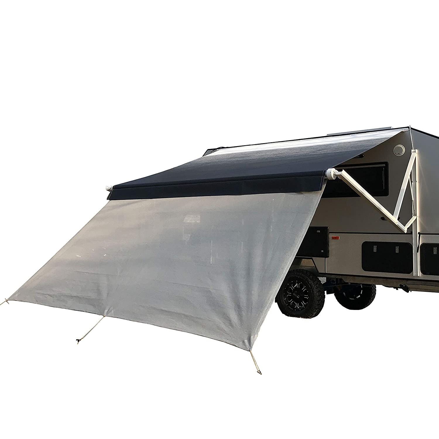 ALEKO RVSSC16X7 RV Deluxe Awning Sun Screen 4.8 x 1.8 Meters 16 x 6 Feet Grey Mesh