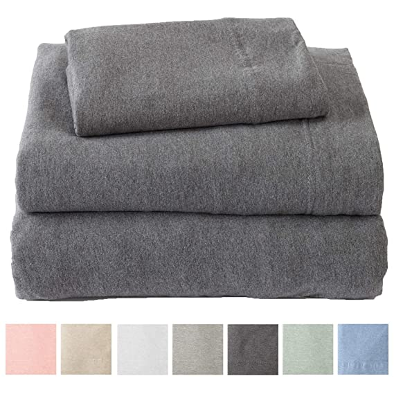Great Bay Home Jersey Knit Sheets. All Season, Soft, Cozy Full Jersey Sheets. T-Shirt Sheets. Jersey Cotton Sheets. Heather Cotton Jersey Bed Sheet Set. (Full, Charcoal) best full-sized flannel sheets