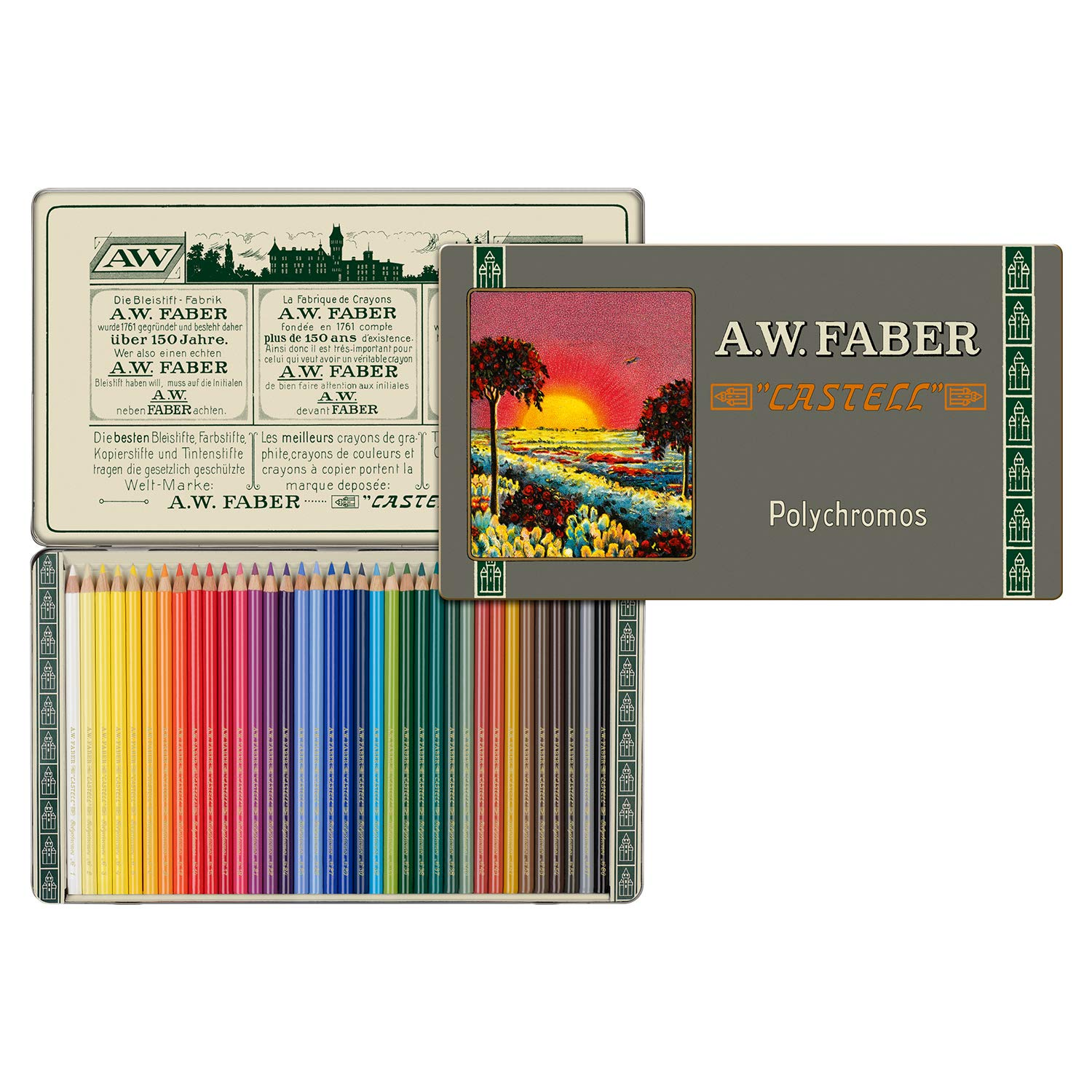Faber-Castell Polychromos 111th Anniversary Limited Edition Wood Colored Pencil Tin - 36 Colors by Faber-Castell